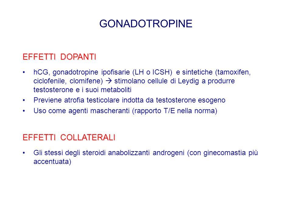 GONADOTROPINE EFFETTI DOPANTI hCG, gonadotropine ipofisarie (LH o ICSH) e sintetiche (tamoxifen, ciclofenile, clomifene)  stimolano cellule di Leydig