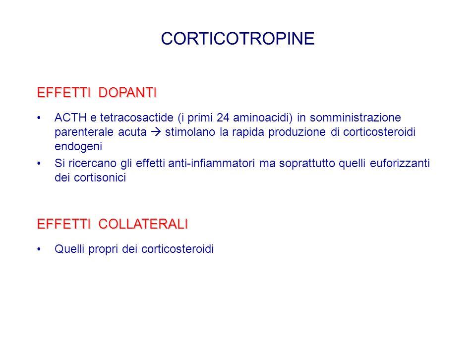 CORTICOTROPINE EFFETTI DOPANTI ACTH e tetracosactide (i primi 24 aminoacidi) in somministrazione parenterale acuta  stimolano la rapida produzione di