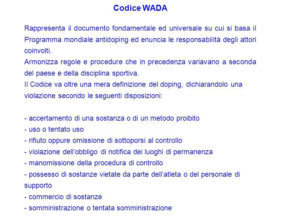 Codice WADA Rappresenta il documento fondamentale ed universale su cui si basa il Programma mondiale antidoping ed enuncia le responsabilità degli att