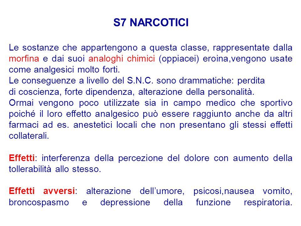 S7 NARCOTICI Le sostanze che appartengono a questa classe, rappresentate dalla morfina e dai suoi analoghi chimici (oppiacei) eroina,vengono usate com