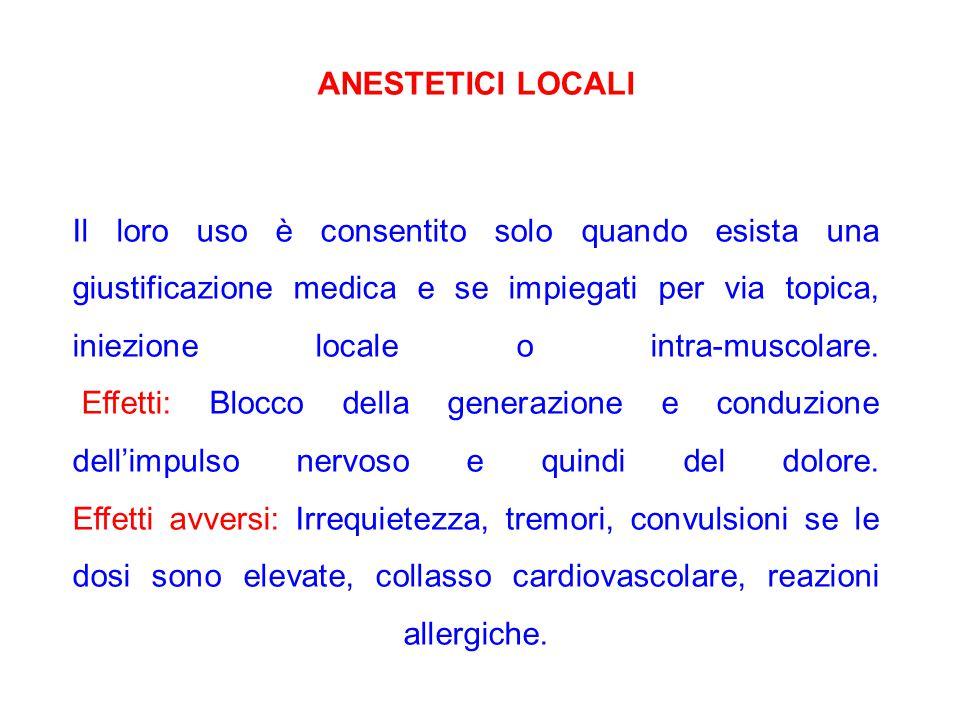 ANESTETICI LOCALI Il loro uso è consentito solo quando esista una giustificazione medica e se impiegati per via topica, iniezione locale o intra-musco