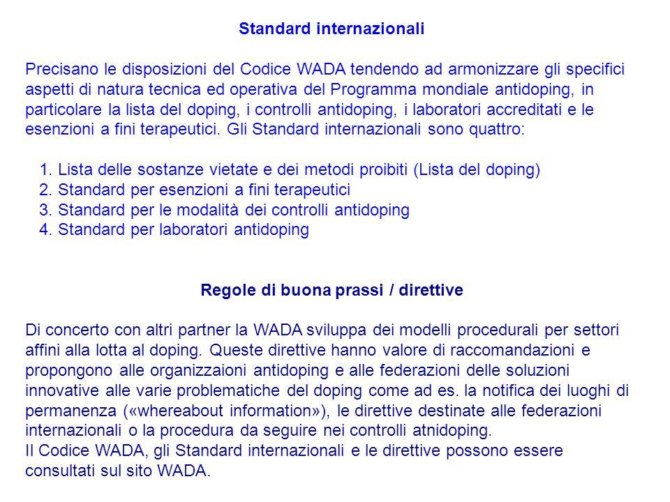 Standard internazionali Precisano le disposizioni del Codice WADA tendendo ad armonizzare gli specifici aspetti di natura tecnica ed operativa del Pro
