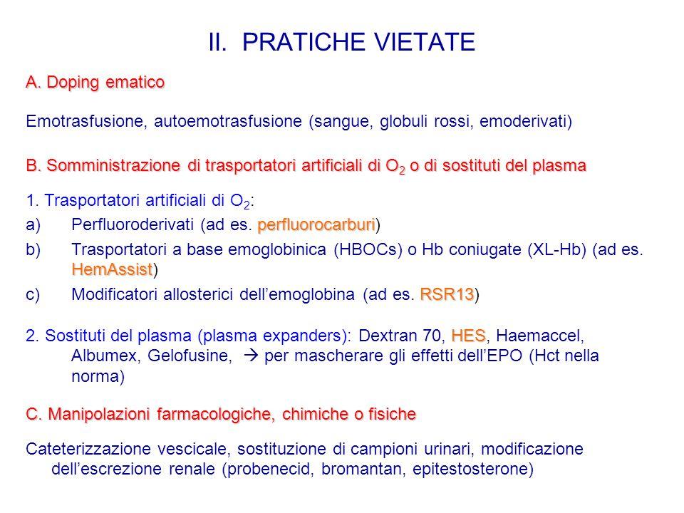 II. PRATICHE VIETATE B. Somministrazione di trasportatori artificiali di O 2 o di sostituti del plasma 1. Trasportatori artificiali di O 2 : perfluoro