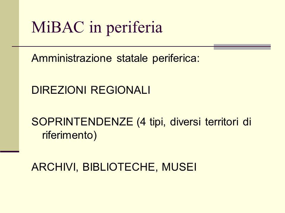 MiBAC in periferia Amministrazione statale periferica: DIREZIONI REGIONALI SOPRINTENDENZE (4 tipi, diversi territori di riferimento) ARCHIVI, BIBLIOTECHE, MUSEI