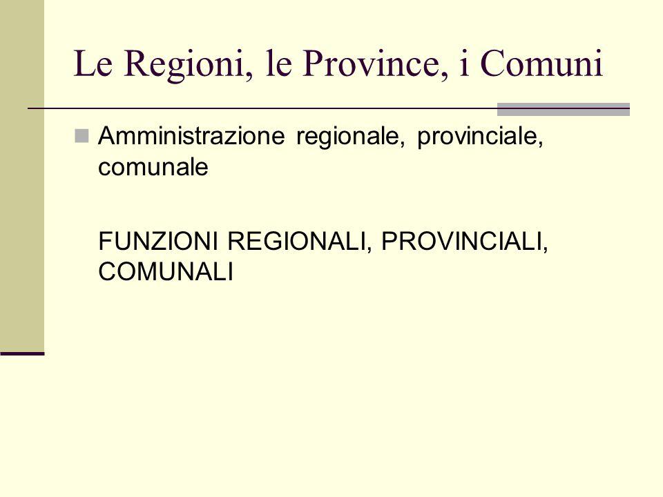 Le Regioni, le Province, i Comuni Amministrazione regionale, provinciale, comunale FUNZIONI REGIONALI, PROVINCIALI, COMUNALI