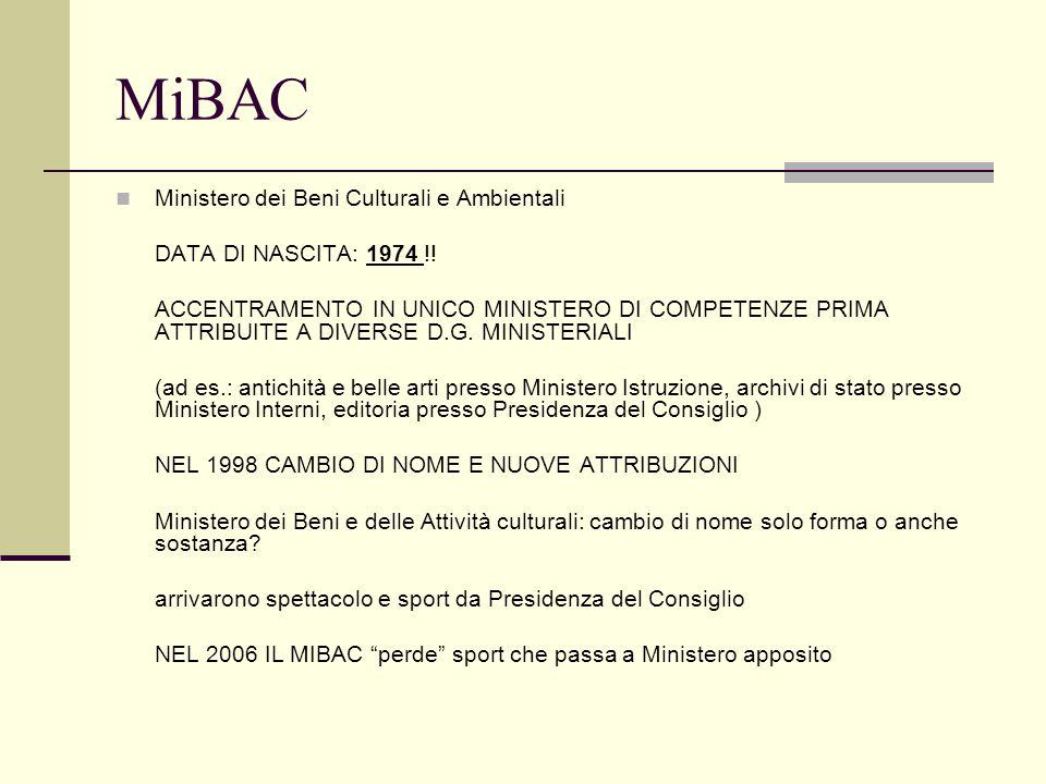 MiBAC Ministero dei Beni Culturali e Ambientali DATA DI NASCITA: 1974 !! ACCENTRAMENTO IN UNICO MINISTERO DI COMPETENZE PRIMA ATTRIBUITE A DIVERSE D.G