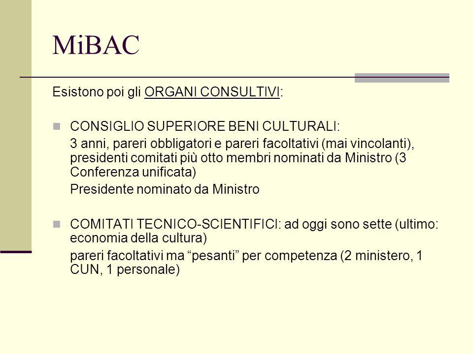 MiBAC ORGANI CONSULTIVI Esistono poi gli ORGANI CONSULTIVI: CONSIGLIO SUPERIORE BENI CULTURALI: 3 anni, pareri obbligatori e pareri facoltativi (mai vincolanti), presidenti comitati più otto membri nominati da Ministro (3 Conferenza unificata) Presidente nominato da Ministro COMITATI TECNICO-SCIENTIFICI: ad oggi sono sette (ultimo: economia della cultura) pareri facoltativi ma pesanti per competenza (2 ministero, 1 CUN, 1 personale)