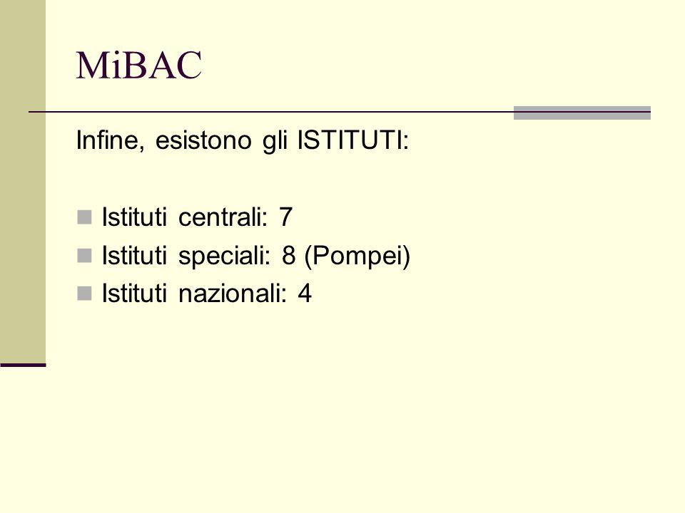 MiBAC Infine, esistono gli ISTITUTI: Istituti centrali: 7 Istituti speciali: 8 (Pompei) Istituti nazionali: 4
