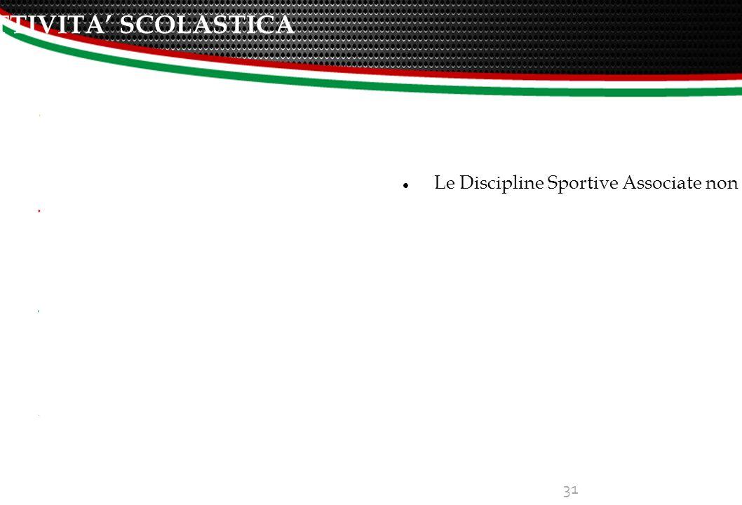 ATTIVITA' SCOLASTICA 31 Le Discipline Sportive Associate non svolgono però unicamente attività sportiva, ma svolgono anche importanti azioni di rilevanza sociale, su tutto il territorio nazionale.