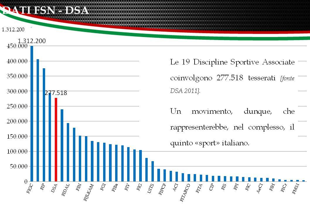 RAPPRESENTATIVITA' NEL CONSIGLIO NAZIONALE CONI FSN 45 su 45 EPS 5 su 15 DSA 3 su 19 33% 16% 100% 19