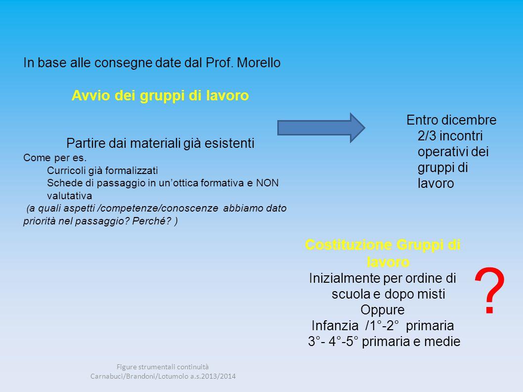 In base alle consegne date dal Prof. Morello Avvio dei gruppi di lavoro Partire dai materiali già esistenti Come per es. Curricoli già formalizzati Sc