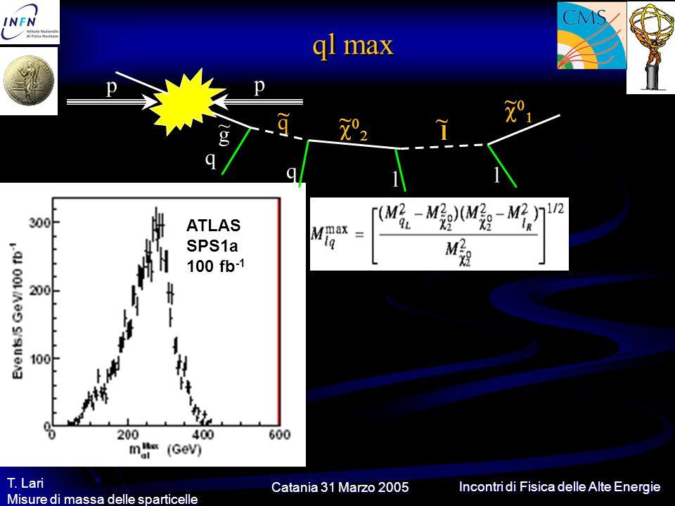 Catania 31 Marzo 2005 T. Lari Misure di massa delle sparticelle Incontri di Fisica delle Alte Energie ql max l q q l g ~ q ~ l ~  ~  ~ p p
