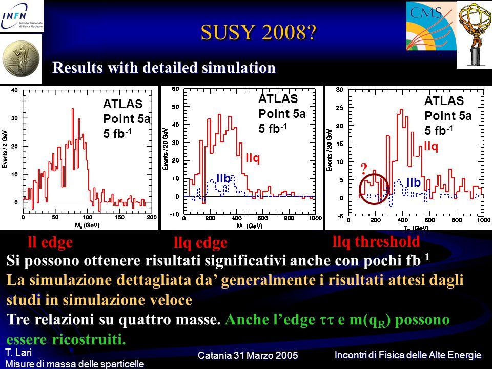 Catania 31 Marzo 2005 T. Lari Misure di massa delle sparticelle Incontri di Fisica delle Alte Energie SUSY 2008? Results with detailed simulation ATLA