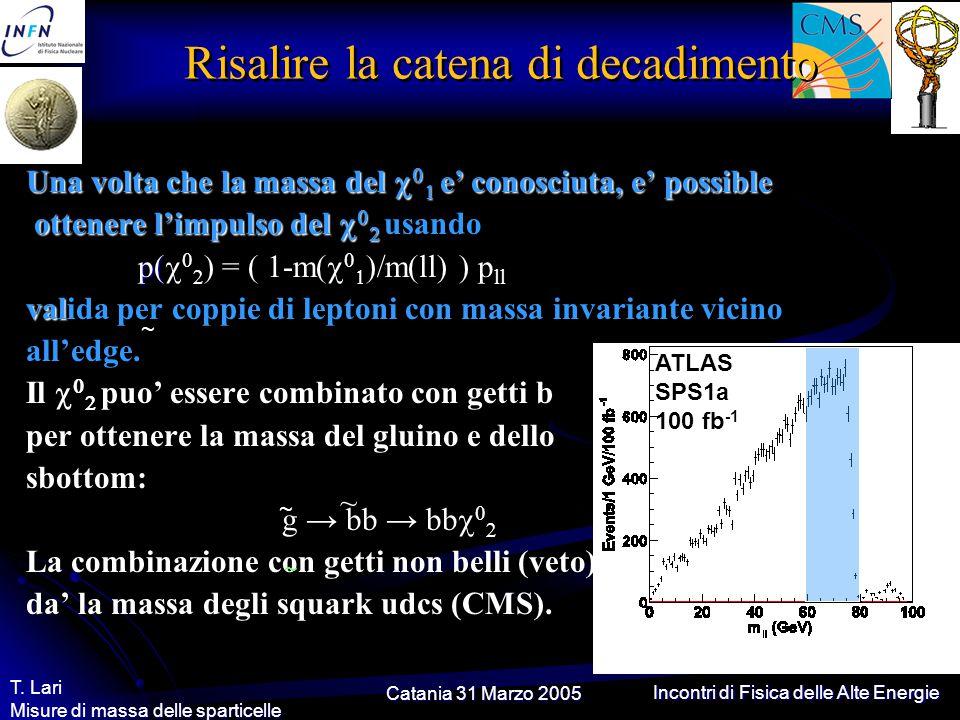 Catania 31 Marzo 2005 T. Lari Misure di massa delle sparticelle Incontri di Fisica delle Alte Energie Risalire la catena di decadimento Una volta che