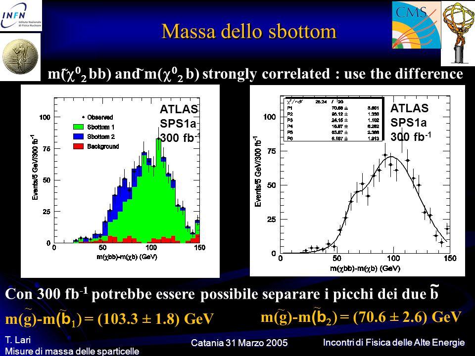 Catania 31 Marzo 2005 T. Lari Misure di massa delle sparticelle Incontri di Fisica delle Alte Energie Massa dello sbottom m(    bb) and m(   