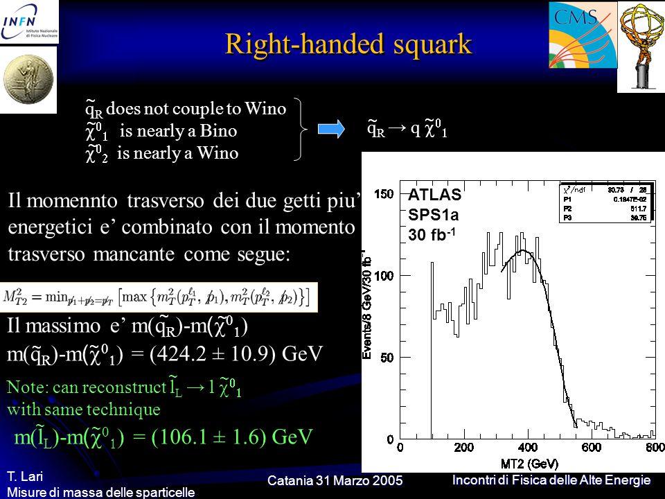 Catania 31 Marzo 2005 T. Lari Misure di massa delle sparticelle Incontri di Fisica delle Alte Energie Right-handed squark q R does not couple to Wino