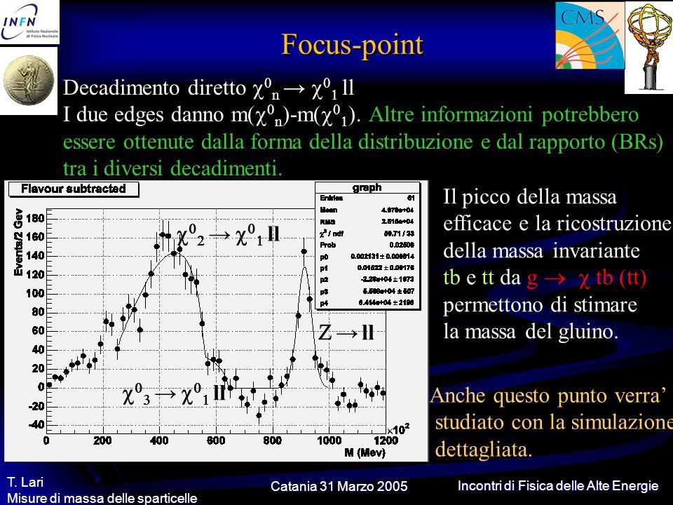 Catania 31 Marzo 2005 T. Lari Misure di massa delle sparticelle Incontri di Fisica delle Alte Energie Focus-point    →    ll Decadimento diret