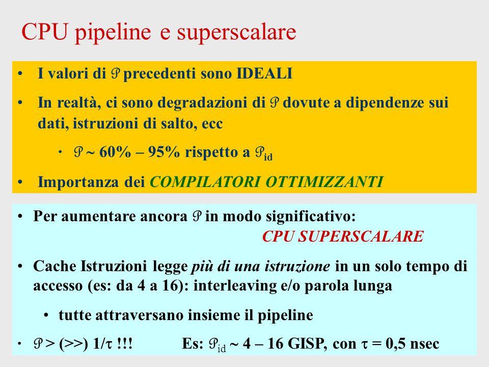CPU pipeline e superscalare I valori di P precedenti sono IDEALI In realtà, ci sono degradazioni di P dovute a dipendenze sui dati, istruzioni di salto, ecc P  60% – 95% rispetto a P id Importanza dei COMPILATORI OTTIMIZZANTI Per aumentare ancora P in modo significativo: CPU SUPERSCALARE Cache Istruzioni legge più di una istruzione in un solo tempo di accesso (es: da 4 a 16): interleaving e/o parola lunga tutte attraversano insieme il pipeline P > (>>) 1/  !!.