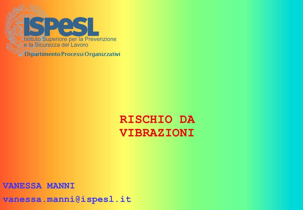 RISCHIO DA VIBRAZIONI VANESSA MANNI vanessa.manni@ispesl.it Dipartimento Processi Organizzativi