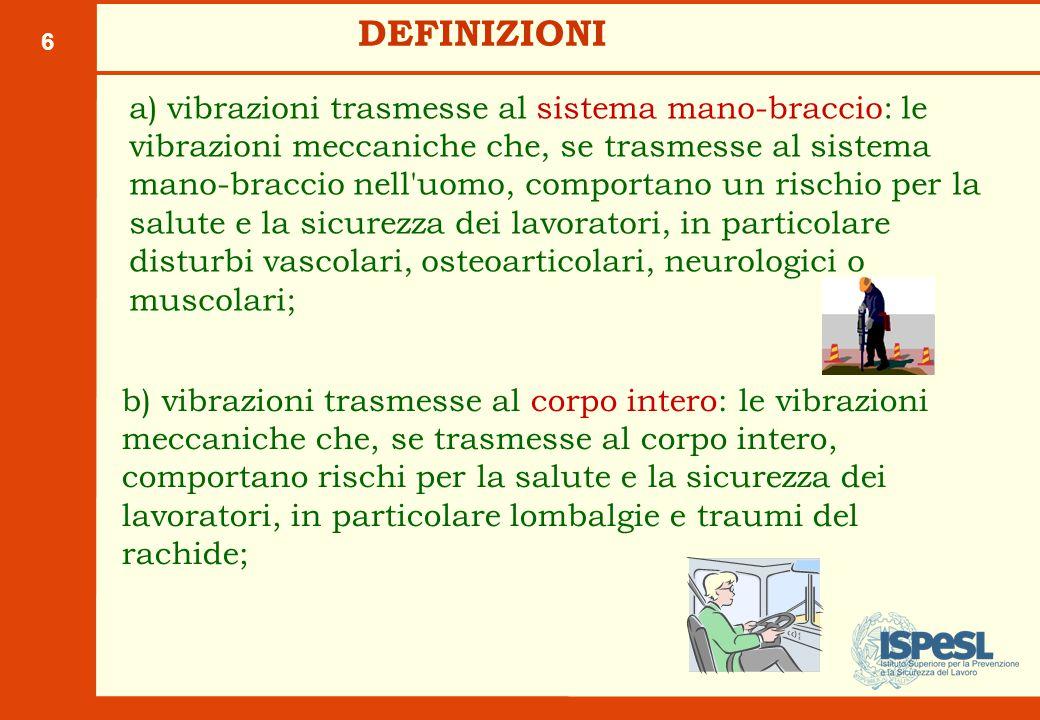 6 DEFINIZIONI a) vibrazioni trasmesse al sistema mano-braccio: le vibrazioni meccaniche che, se trasmesse al sistema mano-braccio nell'uomo, comportan