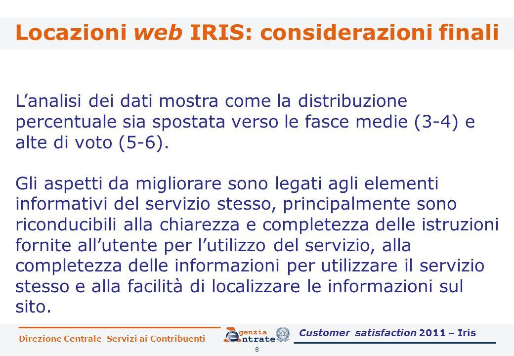 Locazioni web IRIS: considerazioni finali 8 L'analisi dei dati mostra come la distribuzione percentuale sia spostata verso le fasce medie (3-4) e alte di voto (5-6).