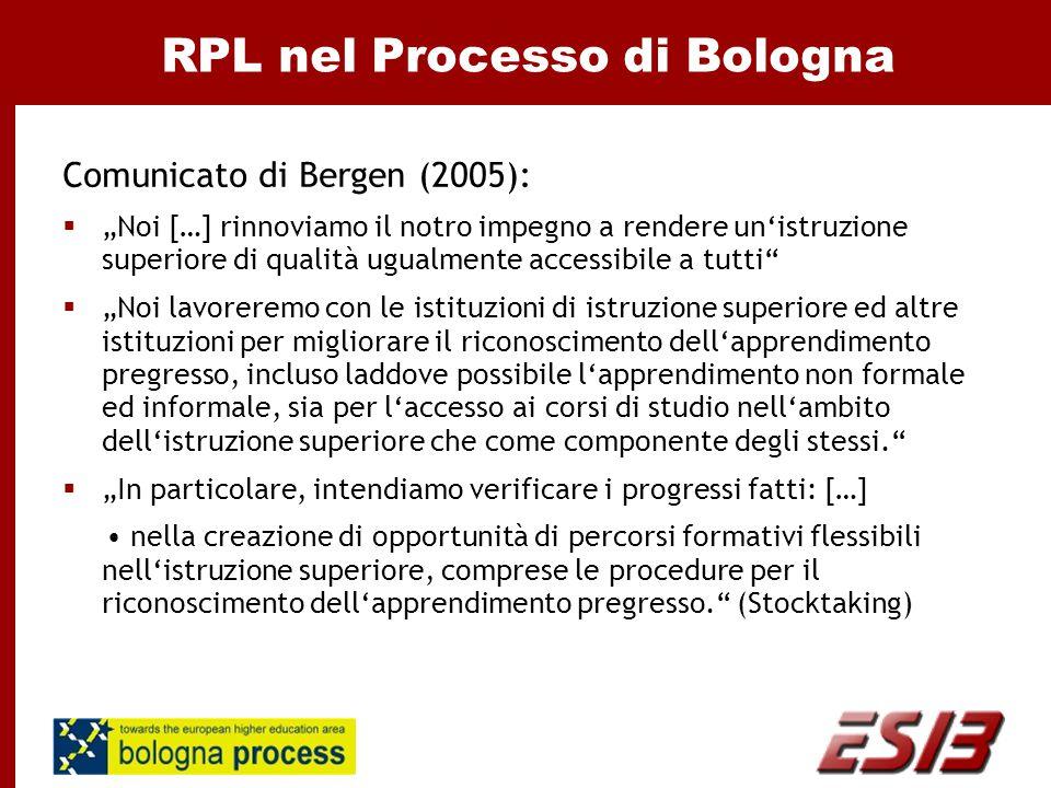 """RPL nel Processo di Bologna Comunicato di Bergen (2005):  """"Noi […] rinnoviamo il notro impegno a rendere un'istruzione superiore di qualità ugualmente accessibile a tutti  """"Noi lavoreremo con le istituzioni di istruzione superiore ed altre istituzioni per migliorare il riconoscimento dell'apprendimento pregresso, incluso laddove possibile l'apprendimento non formale ed informale, sia per l'accesso ai corsi di studio nell'ambito dell'istruzione superiore che come componente degli stessi.  """"In particolare, intendiamo verificare i progressi fatti: […] nella creazione di opportunità di percorsi formativi flessibili nell'istruzione superiore, comprese le procedure per il riconoscimento dell'apprendimento pregresso. (Stocktaking)"""