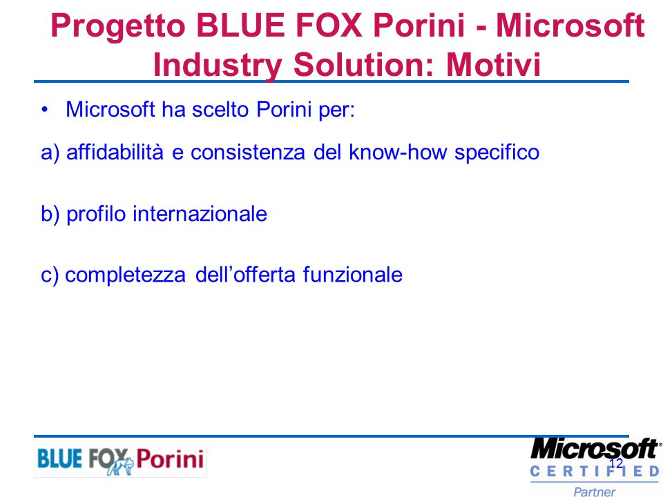 12 Microsoft ha scelto Porini per: Progetto BLUE FOX Porini - Microsoft Industry Solution: Motivi a) affidabilità e consistenza del know-how specifico
