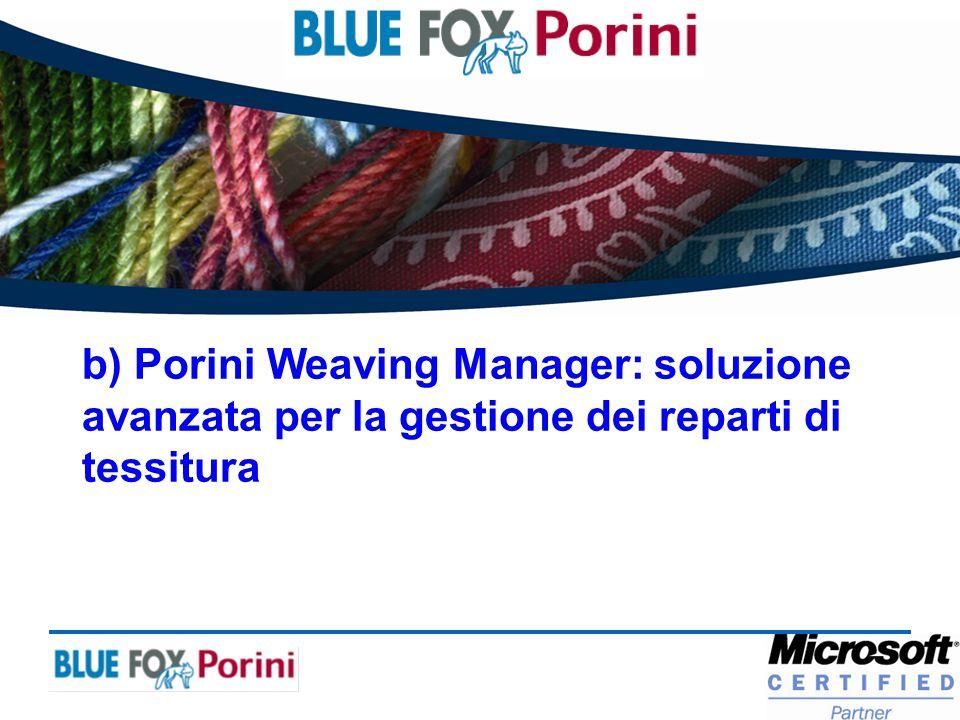 b) Porini Weaving Manager: soluzione avanzata per la gestione dei reparti di tessitura