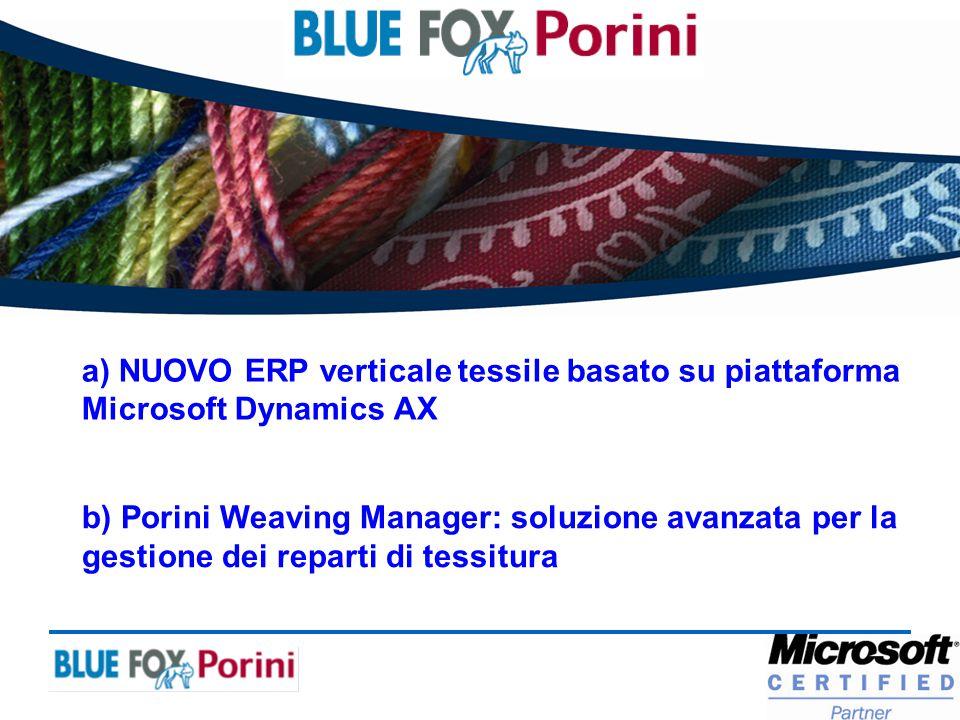 a) NUOVO ERP verticale tessile basato su piattaforma Microsoft Dynamics AX b) Porini Weaving Manager: soluzione avanzata per la gestione dei reparti d