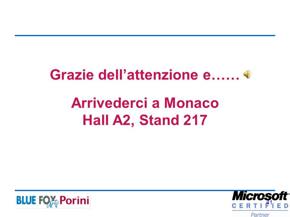41 Grazie dell'attenzione e…… Arrivederci a Monaco Hall A2, Stand 217