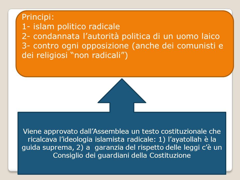 Principi: 1- islam politico radicale 2- condannata l'autorità politica di un uomo laico 3- contro ogni opposizione (anche dei comunisti e dei religios