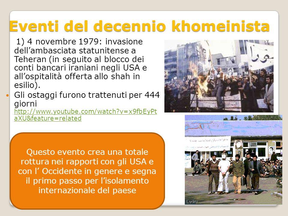 Eventi del decennio khomeinista 1) 4 novembre 1979: invasione dell'ambasciata statunitense a Teheran (in seguito al blocco dei conti bancari iraniani