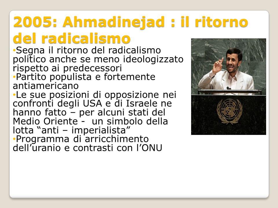 2005: Ahmadinejad : il ritorno del radicalismo Segna il ritorno del radicalismo politico anche se meno ideologizzato rispetto ai predecessori Partito