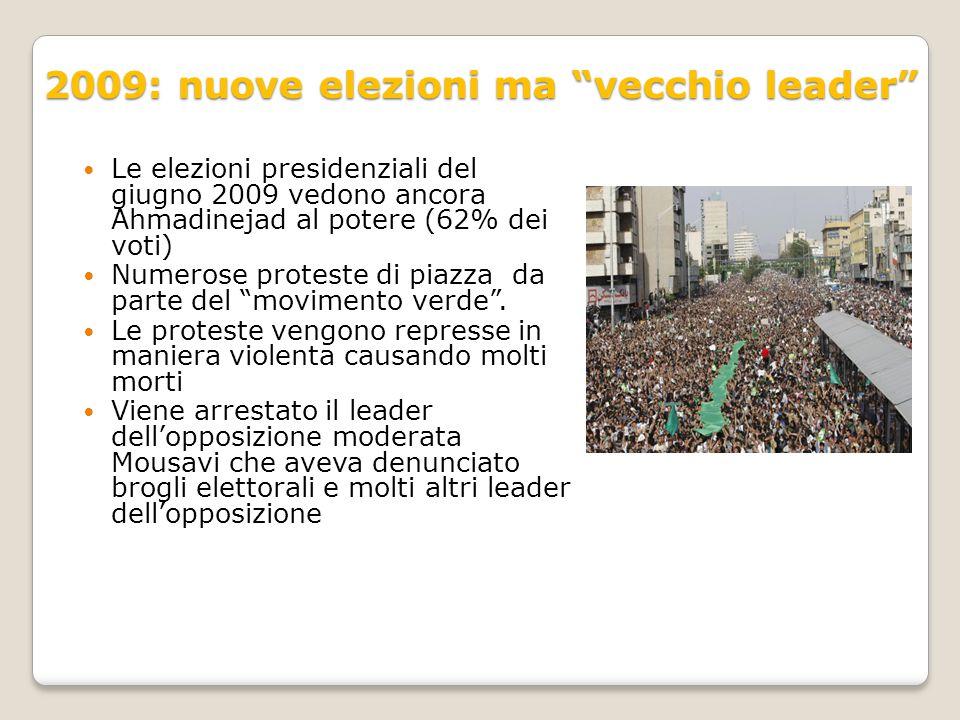 """2009: nuove elezioni ma """"vecchio leader"""" Le elezioni presidenziali del giugno 2009 vedono ancora Ahmadinejad al potere (62% dei voti) Numerose protest"""