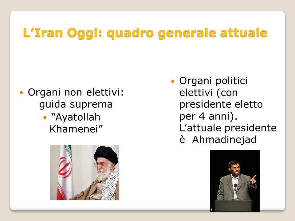 """L'Iran Oggi: quadro generale attuale Organi non elettivi: guida suprema """"Ayatollah Khamenei"""" Organi politici elettivi (con presidente eletto per 4 ann"""