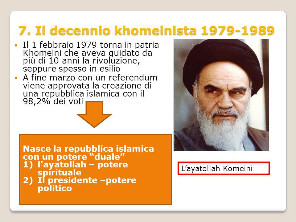 7. Il decennio khomeinista 1979-1989 Il 1 febbraio 1979 torna in patria Khomeini che aveva guidato da più di 10 anni la rivoluzione, seppure spesso in