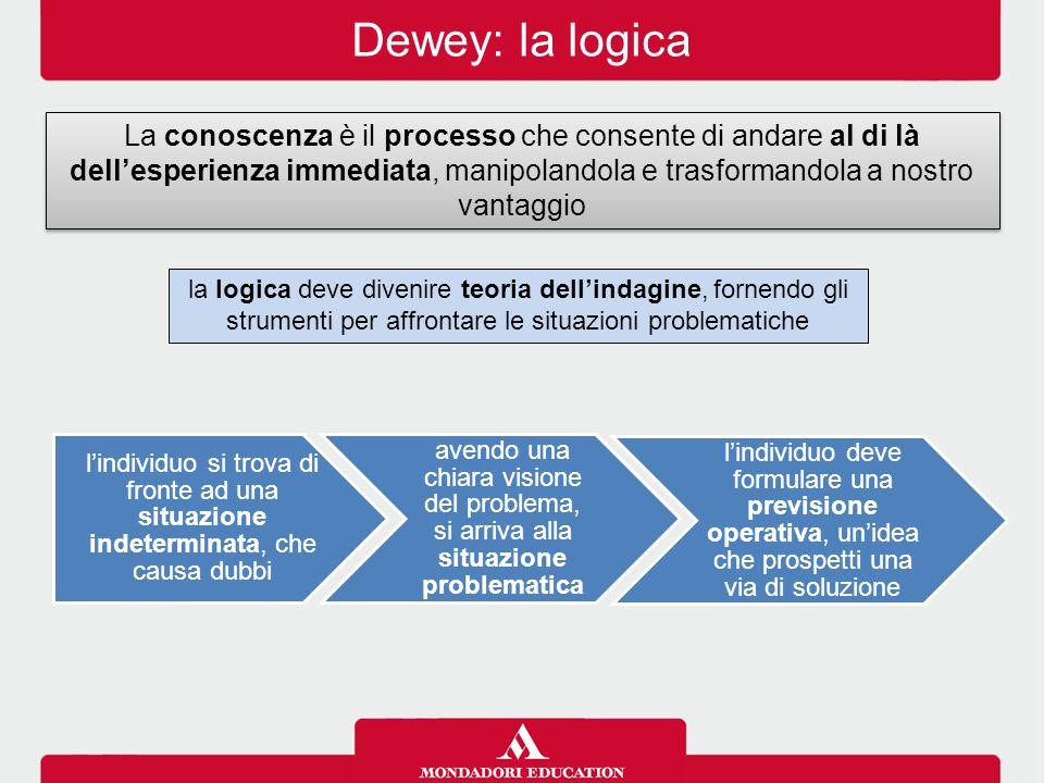 Dewey: la logica La conoscenza è il processo che consente di andare al di là dell'esperienza immediata, manipolandola e trasformandola a nostro vantag