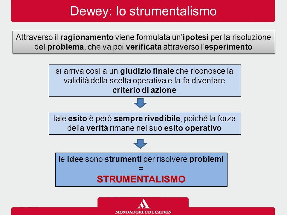 Dewey: lo strumentalismo Attraverso il ragionamento viene formulata un'ipotesi per la risoluzione del problema, che va poi verificata attraverso l'esp