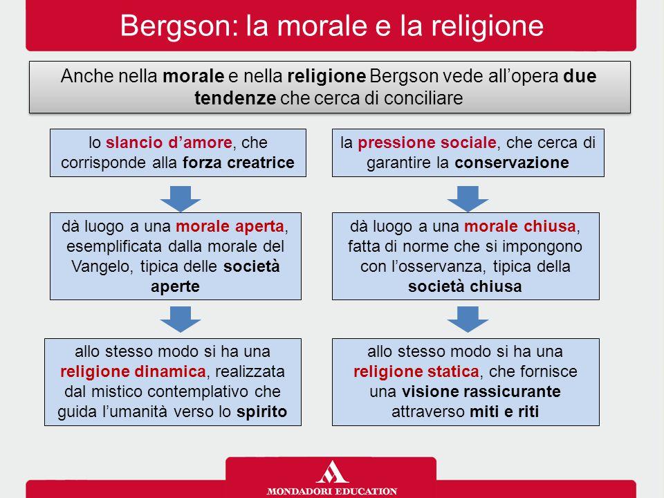 Bergson: la morale e la religione Anche nella morale e nella religione Bergson vede all'opera due tendenze che cerca di conciliare la pressione social