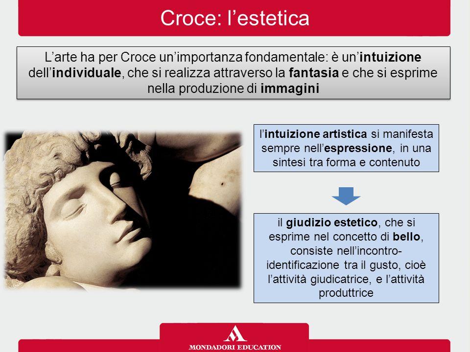 Croce: l'estetica L'arte ha per Croce un'importanza fondamentale: è un'intuizione dell'individuale, che si realizza attraverso la fantasia e che si es