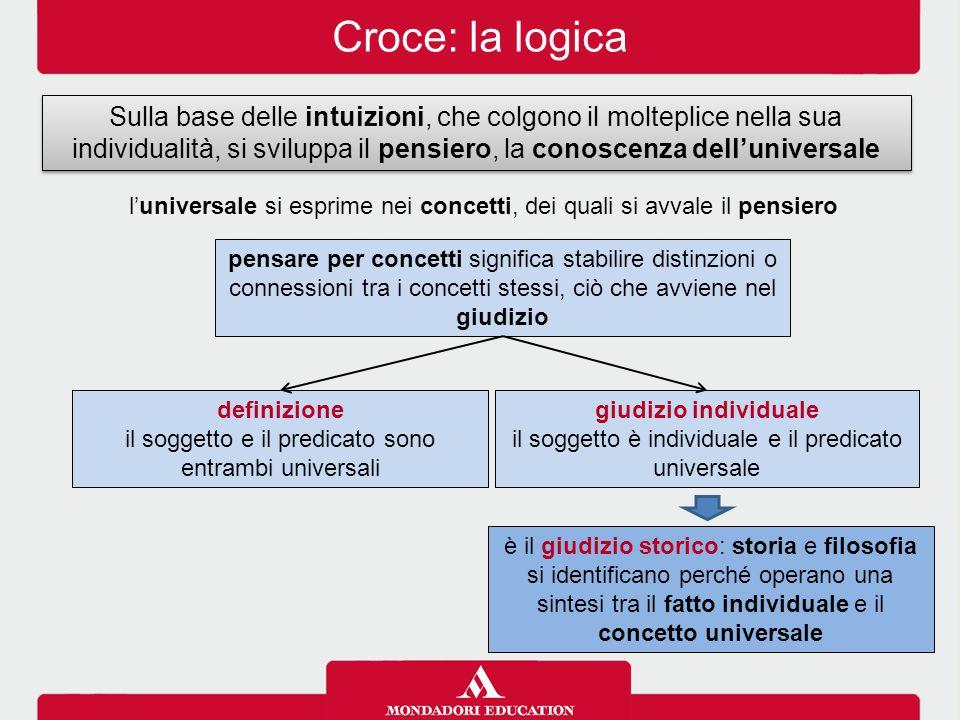 Croce: la logica Sulla base delle intuizioni, che colgono il molteplice nella sua individualità, si sviluppa il pensiero, la conoscenza dell'universal