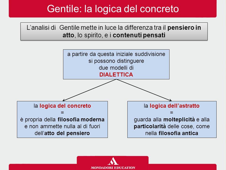Gentile: la logica del concreto L'analisi di Gentile mette in luce la differenza tra il pensiero in atto, lo spirito, e i contenuti pensati a partire