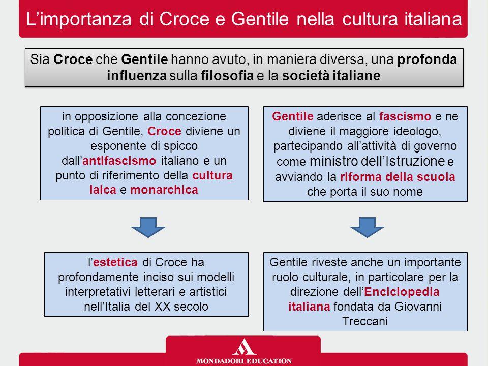 L'importanza di Croce e Gentile nella cultura italiana Sia Croce che Gentile hanno avuto, in maniera diversa, una profonda influenza sulla filosofia e
