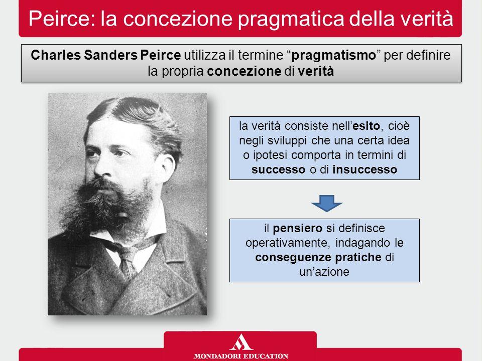 """Peirce: la concezione pragmatica della verità Charles Sanders Peirce utilizza il termine """"pragmatismo"""" per definire la propria concezione di verità il"""