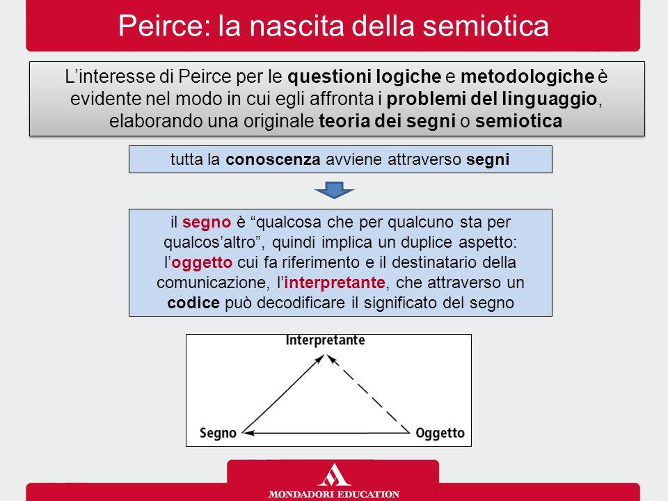 Peirce: la nascita della semiotica L'interesse di Peirce per le questioni logiche e metodologiche è evidente nel modo in cui egli affronta i problemi