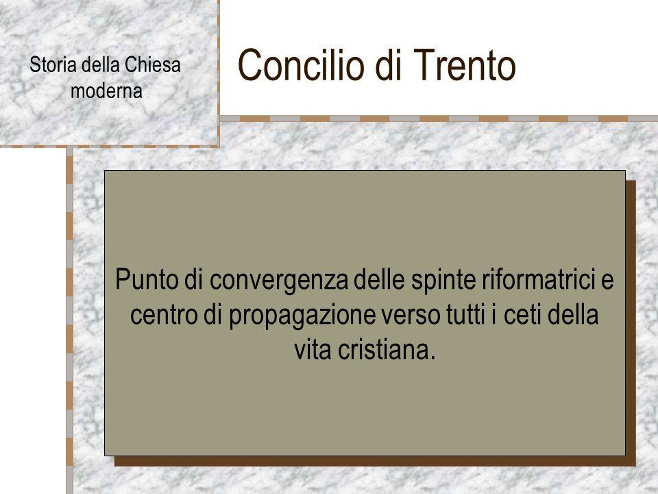 Concilio di Trento Storia della Chiesa moderna Punto di convergenza delle spinte riformatrici e centro di propagazione verso tutti i ceti della vita cristiana.