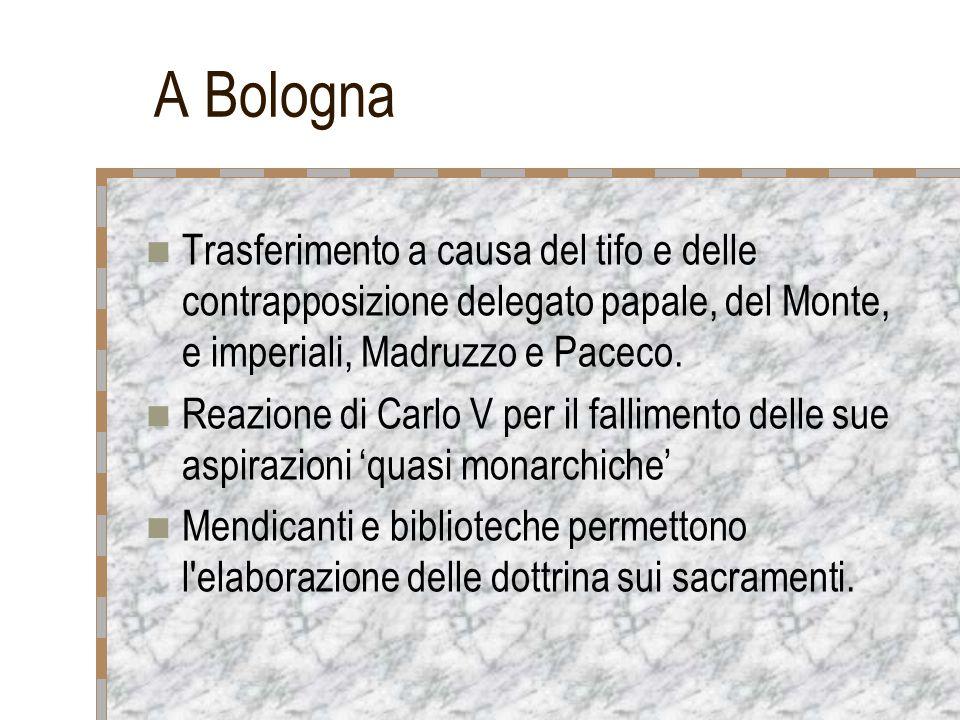 A Bologna Trasferimento a causa del tifo e delle contrapposizione delegato papale, del Monte, e imperiali, Madruzzo e Paceco.