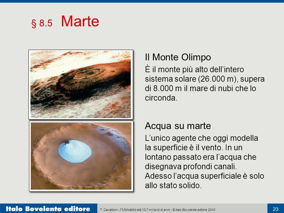 T. Cavattoni - l'Universo età 13,7 miliardi di anni - © Italo Bovolenta editore 2010 23 § 8.5 Marte Acqua su marte L'unico agente che oggi modella la