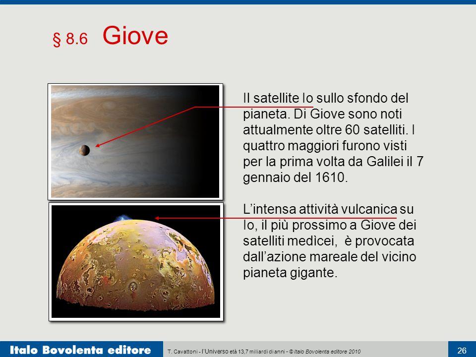 T. Cavattoni - l'Universo età 13,7 miliardi di anni - © Italo Bovolenta editore 2010 26 § 8.6 Giove Il satellite Io sullo sfondo del pianeta. Di Giove