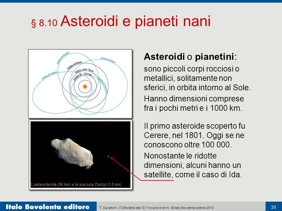 T. Cavattoni - l'Universo età 13,7 miliardi di anni - © Italo Bovolenta editore 2010 31 § 8.10 Asteroidi e pianeti nani Asteroidi o pianetini: sono pi
